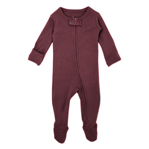 Organic Zipper Jumpsuit - Eggplant - Earth Mart
