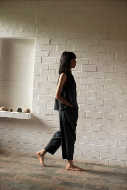Pace Trousers - Black Khadi Cotton