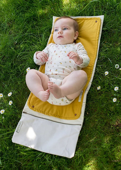 (Coming Soon) Unbleached Cotton Baby Changing Bag + Mustard Changing Mat - Earth Mart