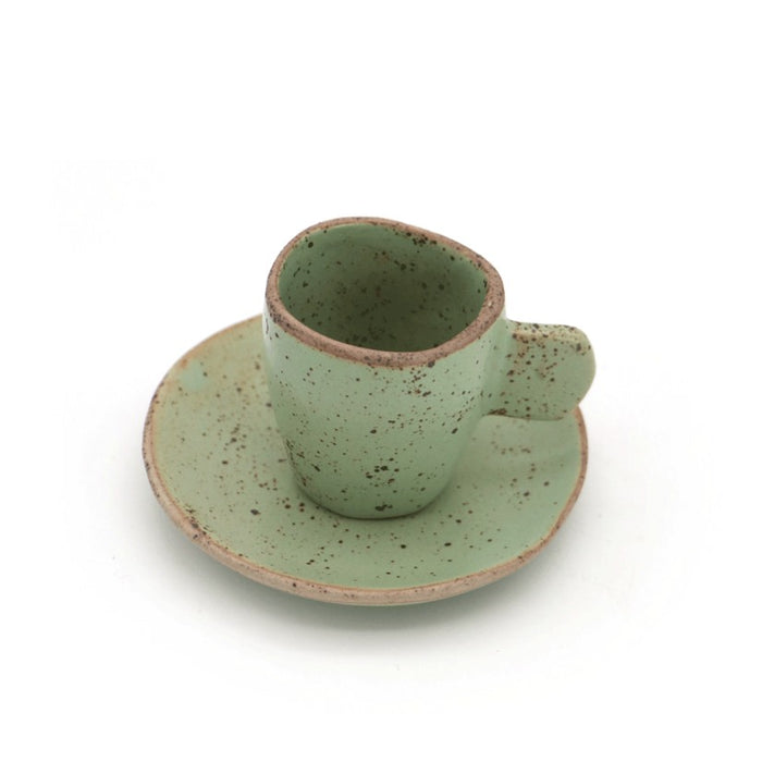 Local Artisanal Ceramic - Slim Espresso Cup + Saucer Set (Green) - Earth Mart