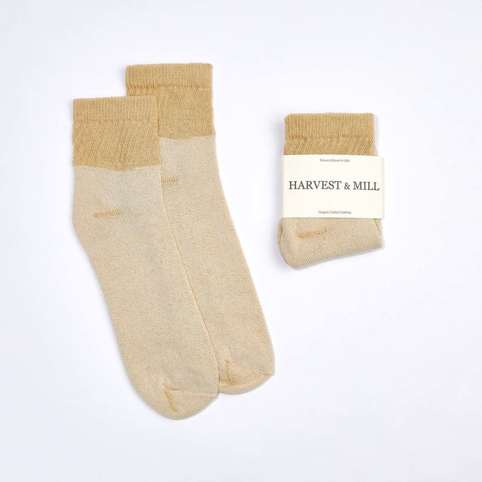 Organic Cotton Socks - Tan-Green Ankle