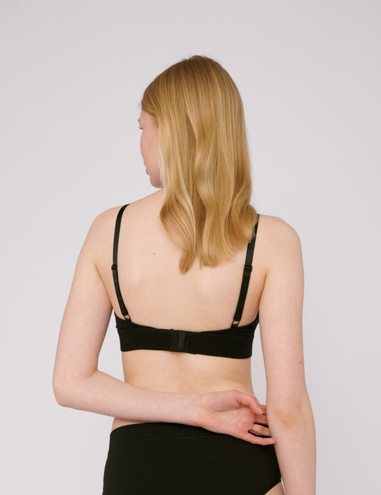 Organic Cotton Triangle Bra - Black - Earth Mart