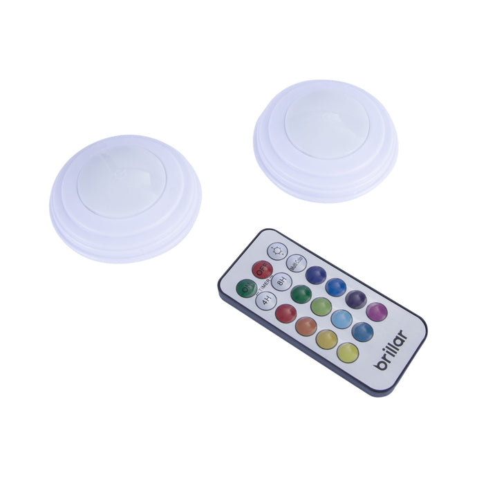 Remote Controlled Colour Changing Puck Lights 2pk