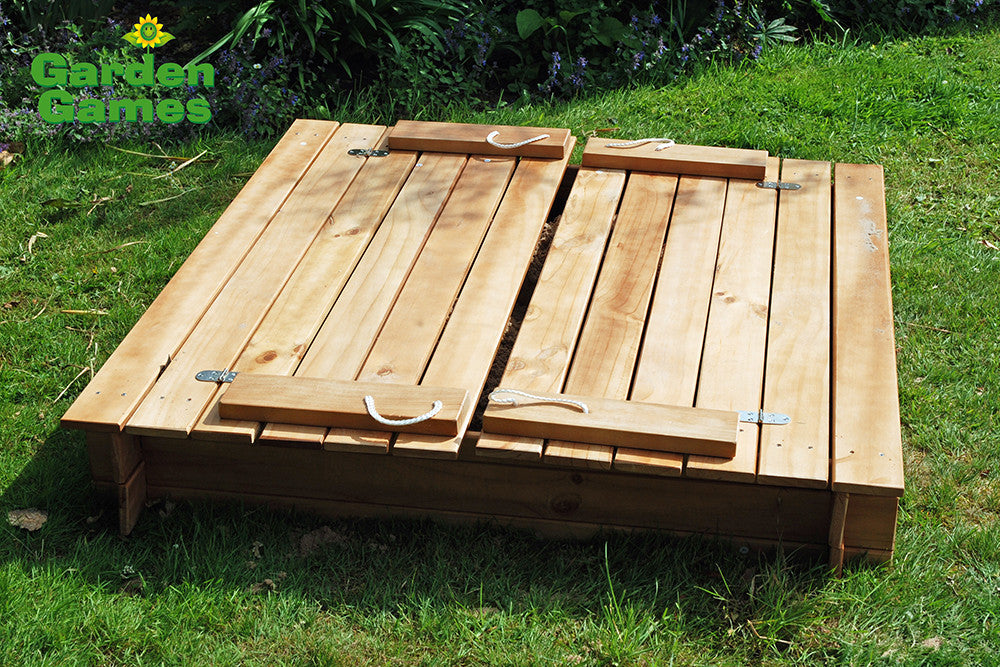 Square Sandpit With Benches And Folding Lid Yardgames