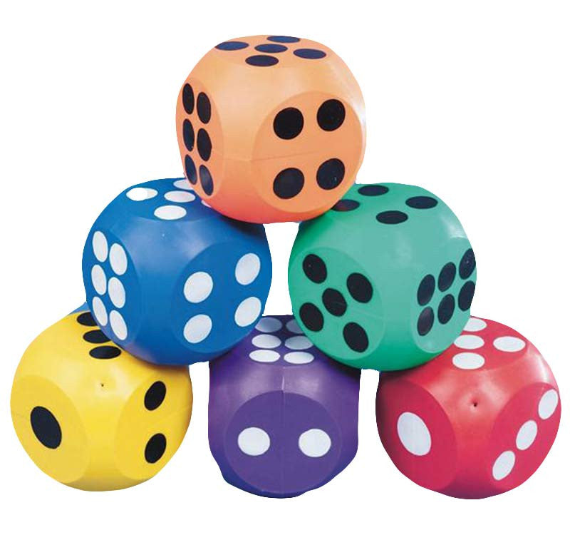 10cm Coloured Rubber Dice - 6 Pack