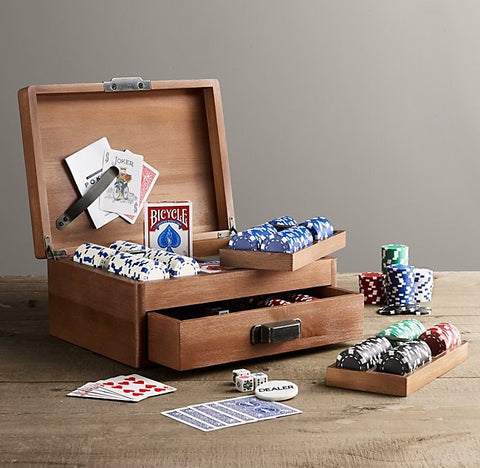 Deluxe Poker Set with Chips, Cards, Dice and Wooden Storage Chest