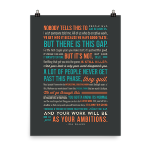 "Ira Glass Quote On Creativity Print (18"" x 24"")"