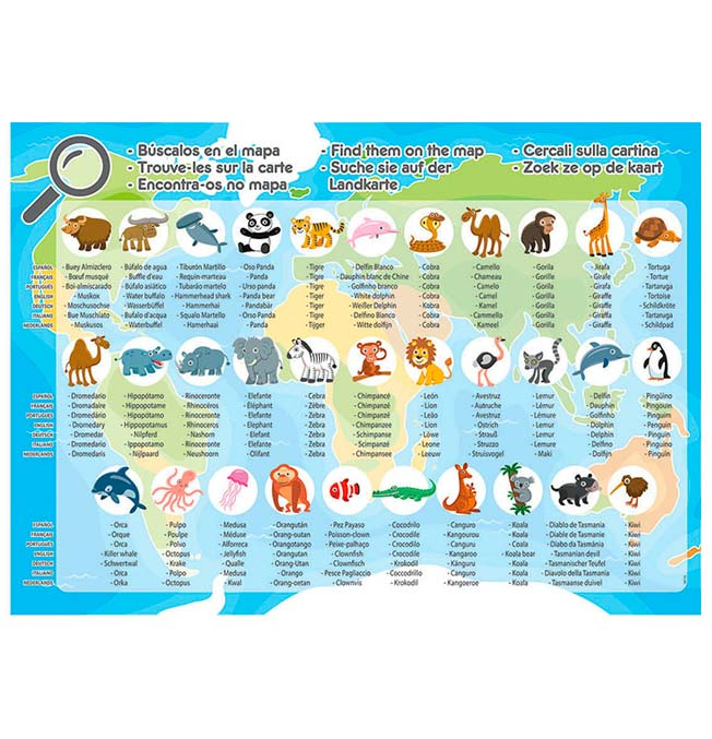 Animals World Map - Puzzle 150 pieces