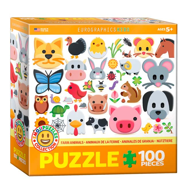 Emoji Puzzle - Farm Animals - Puzzle 100 pieces