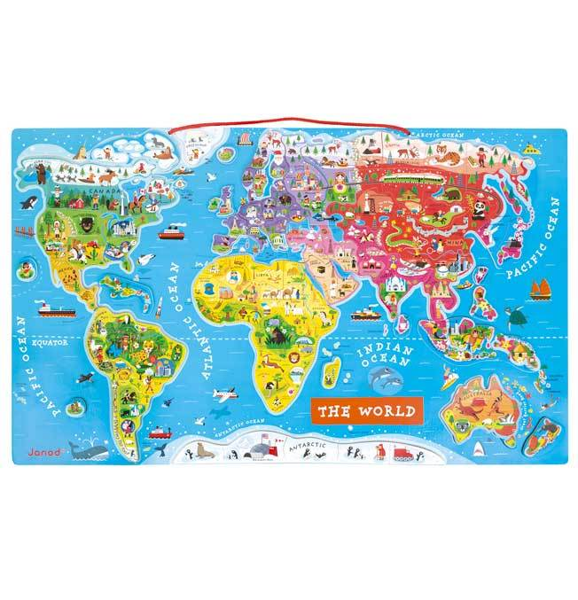 Magnetic World Puzzle Map - English