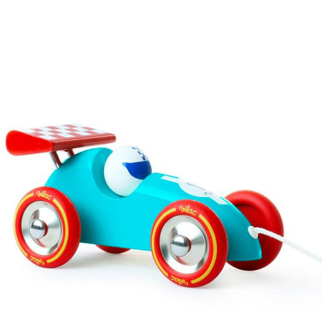 Pull Along Racing Car, Turquoise and Red
