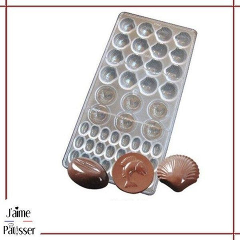 moule chocolat polycarbonate 3d en poisson ou coquillage