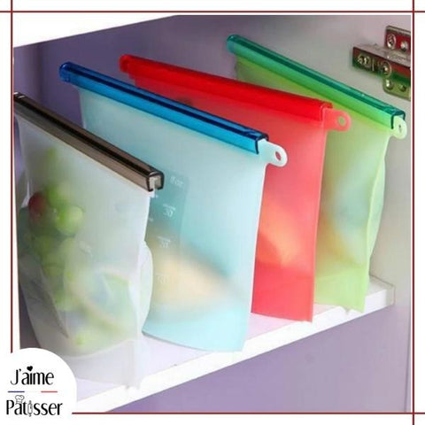 Sac Zip Silicone Alimentaire Sy-Lico™ (lot de 4) - 1500ml (x4)