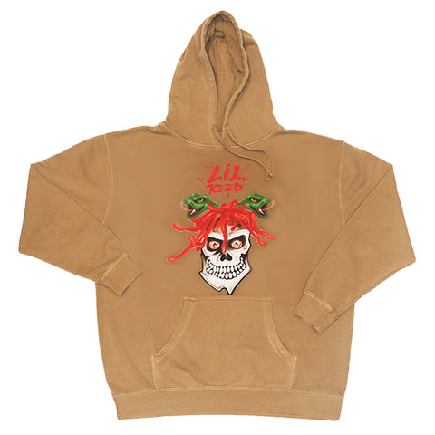 Lil Keed Rockstar Tan Vintage Wash Hoodie  - Embroidered Hood