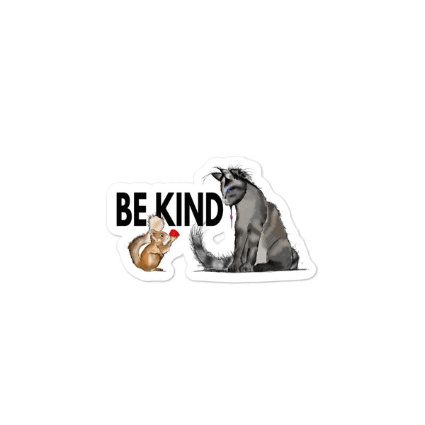 Be Kind sticker Squirrel and Cat