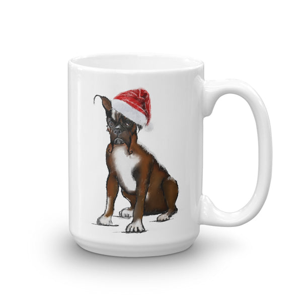 Boxer with a christmas hat coffee mug