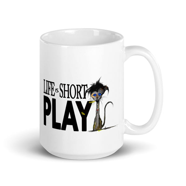 Life Is Short Play Kitten and Feathers Mug