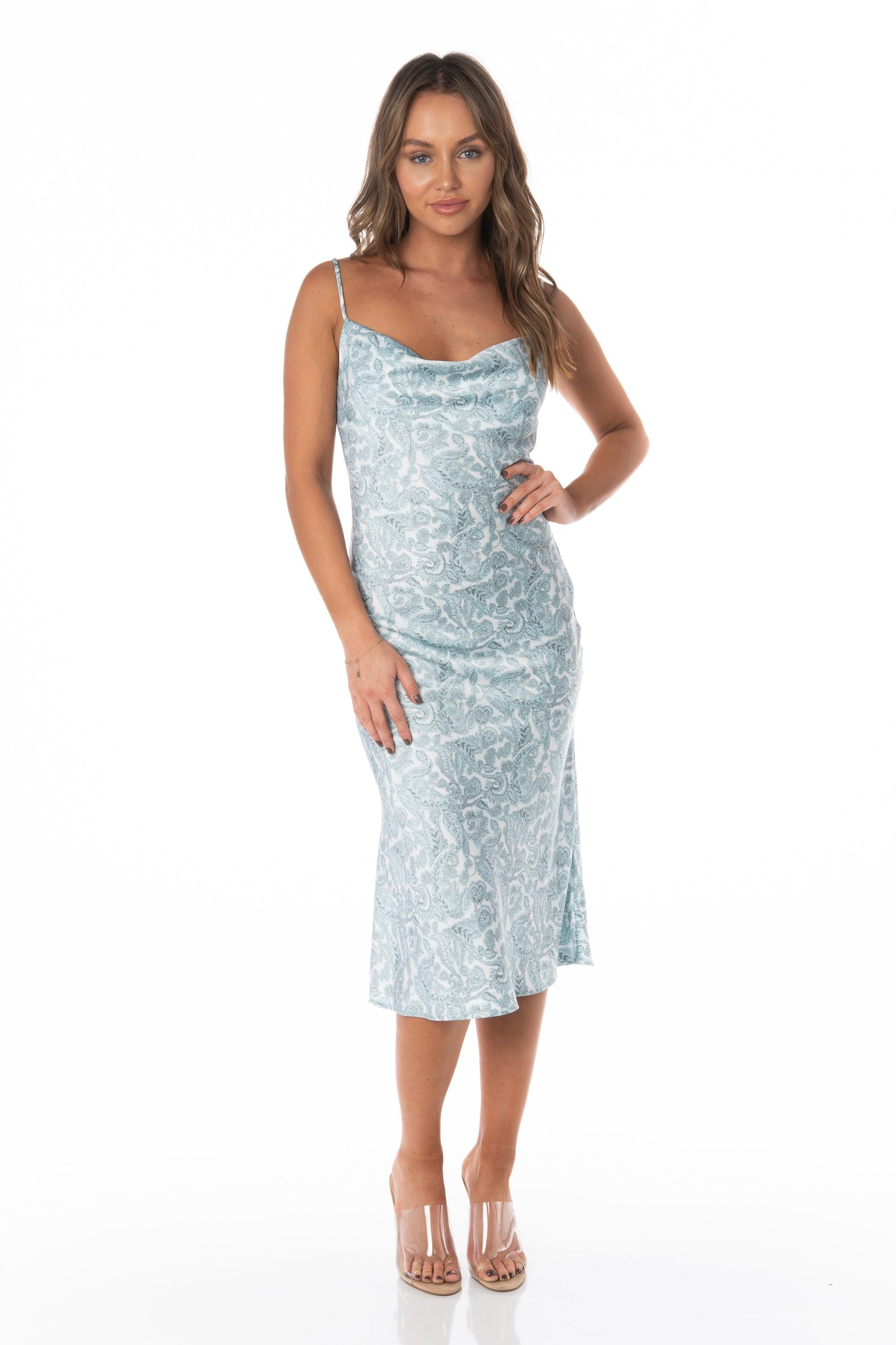 Aquamarine Paisley Midi Slip Dress - FINAL SALE Dresses HYPEACH BOUTIQUE