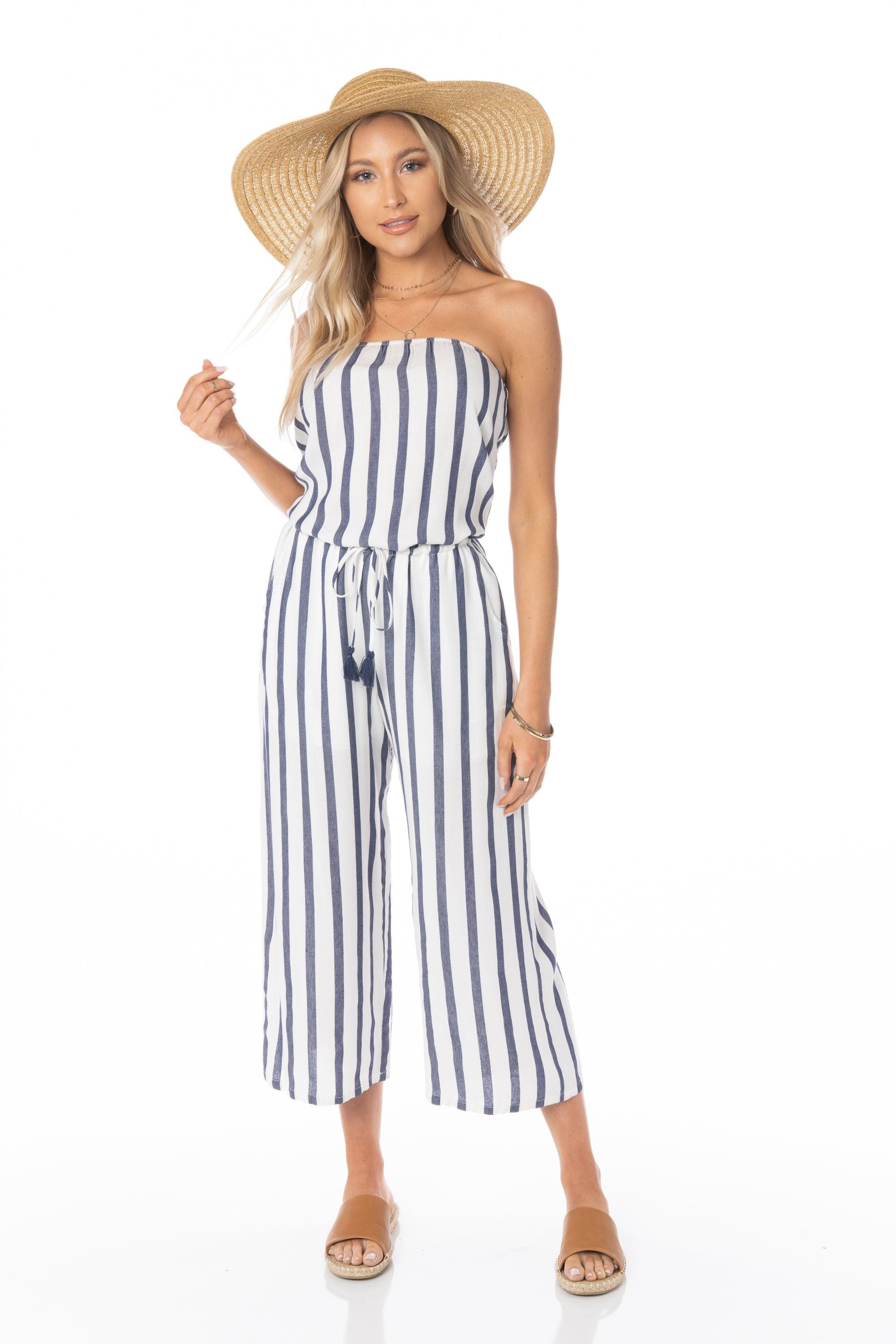 Athena Strapless White Blue Jumpsuit Rompers & Jumpers HYPEACH BOUTIQUE