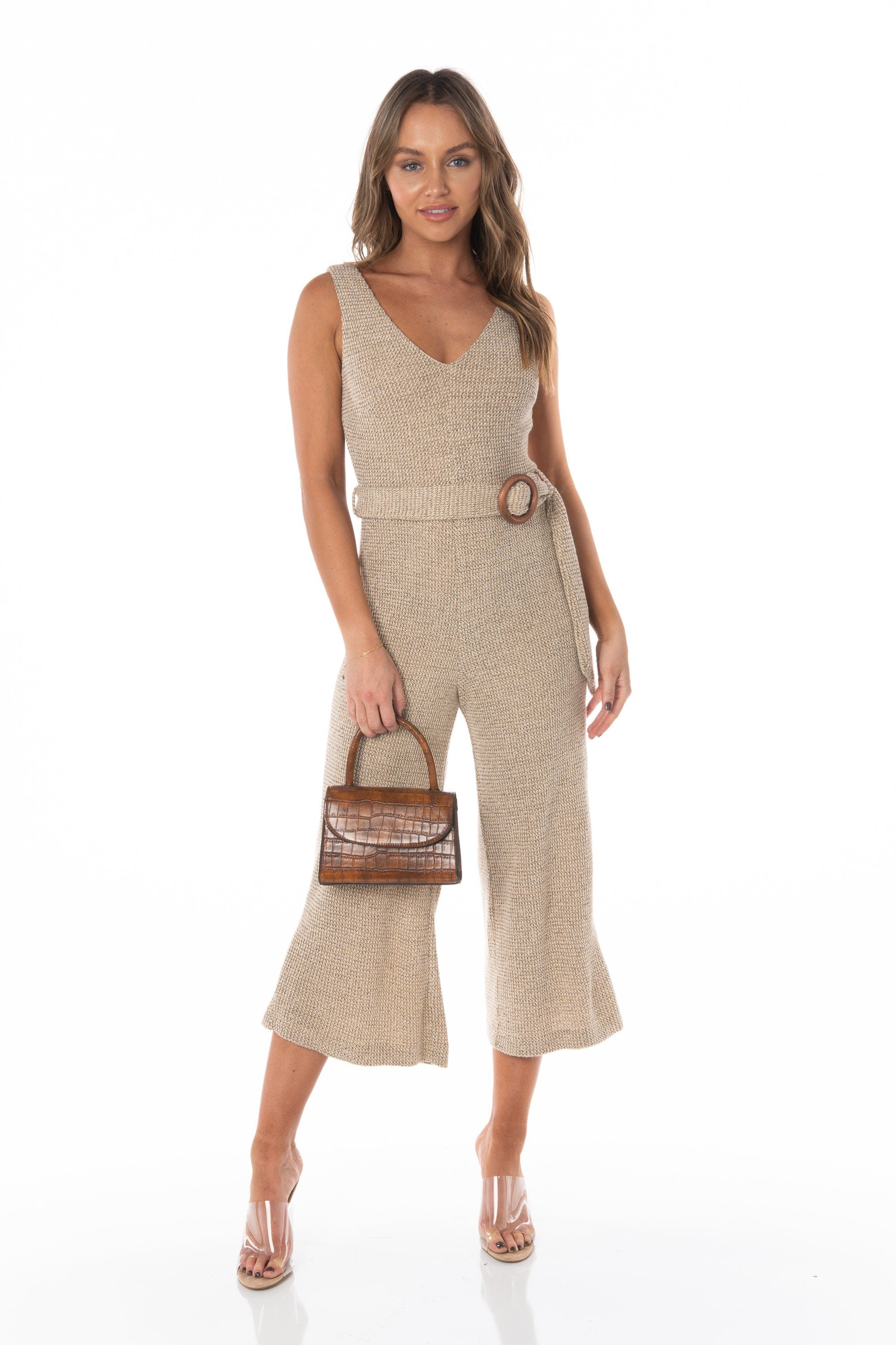Bi-Coastal Woven Knit Beige Jumpsuit - FINAL SALE Rompers & Jumpers HYPEACH BOUTIQUE