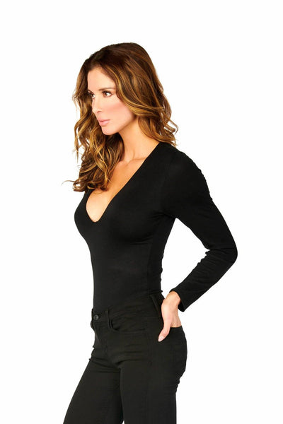 Black Double Layered Long Sleeve V Neck Bodysuit Tops HYPEACH BOUTIQUE