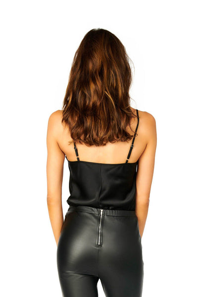 Black Satin Cowl Neck Cami Tops HYPEACH BOUTIQUE