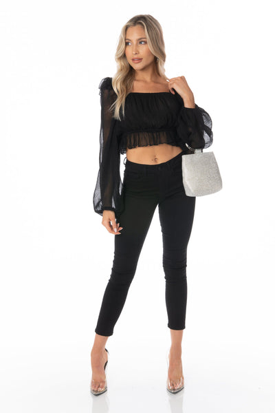 Black Sheer Long Sleeve Square Neck Cropped Blouse Tops HYPEACH BOUTIQUE