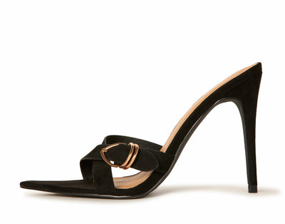 Black Suede Pointed Toe Cross Strap Sandal Heels Shoes HYPEACH BOUTIQUE