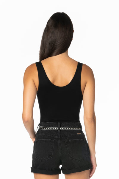 Black Tank V Notch Bodysuit Tops HYPEACH BOUTIQUE