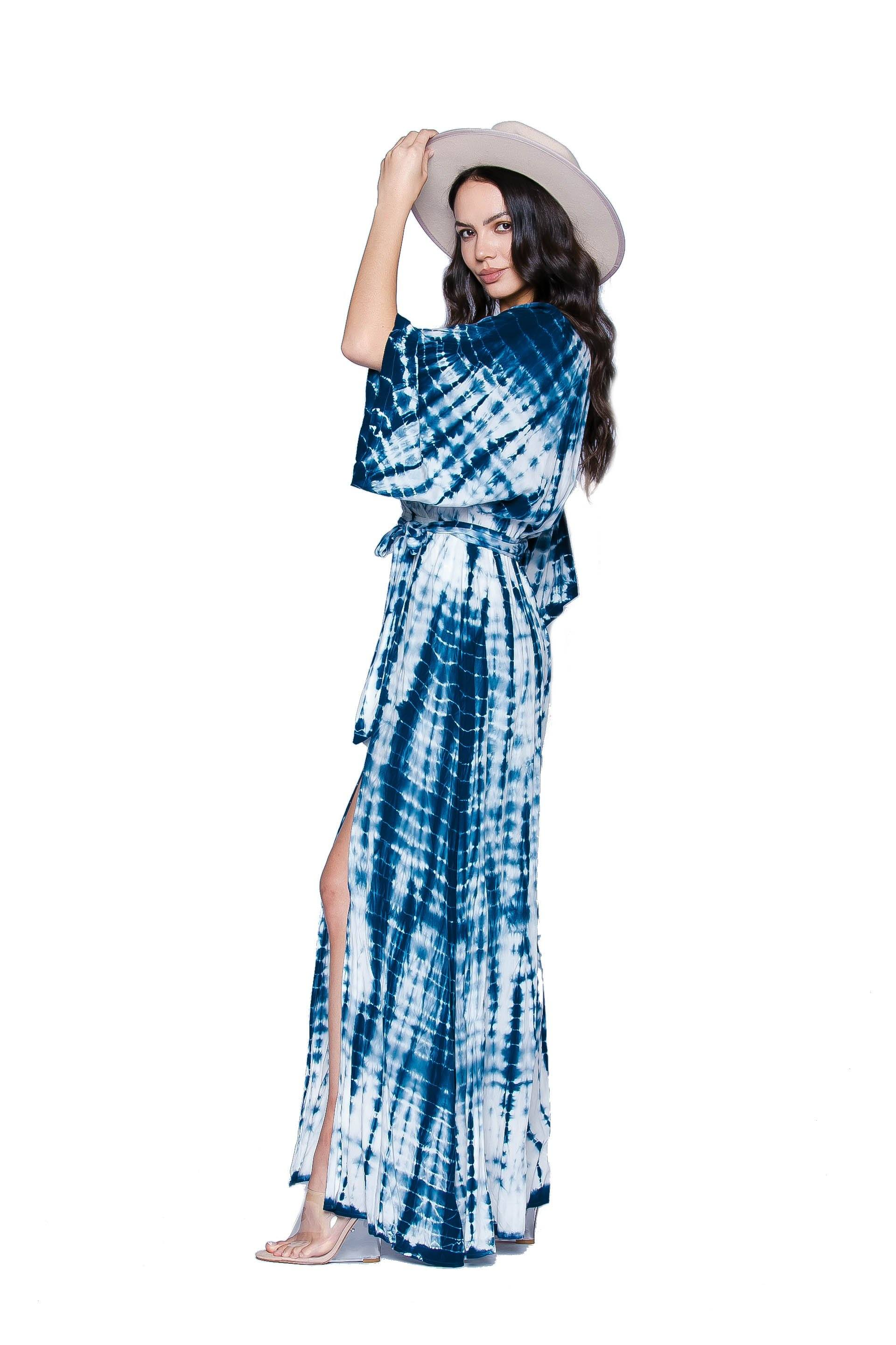 Blue Lagoon Tie Dye Maxi Dress Dresses HYPEACH BOUTIQUE