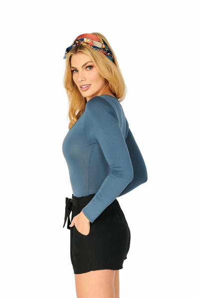 Blue Long Sleeve V Notch Bodysuit Tops HYPEACH BOUTIQUE