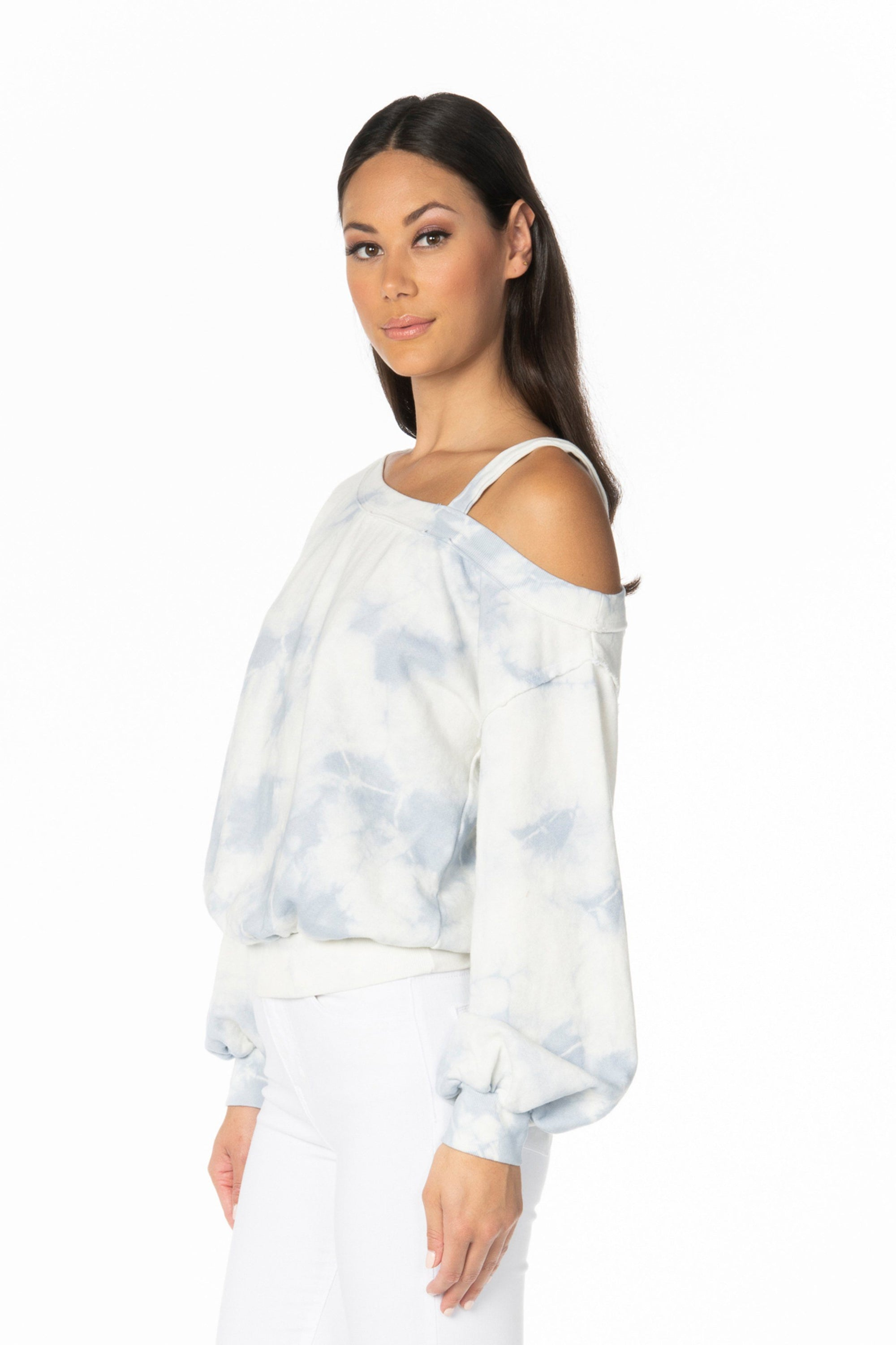 Blue White Long Sleeve Tie-Dye One Shoulder Sweatshirt Tops HYPEACH BOUTIQUE