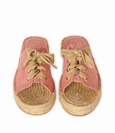 Boardwalk Lace Up Espadrille Pink Suede Shoes HYPEACH BOUTIQUE