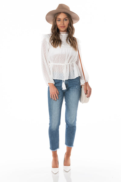 Boho Peasant White Top Tops HYPEACH BOUTIQUE