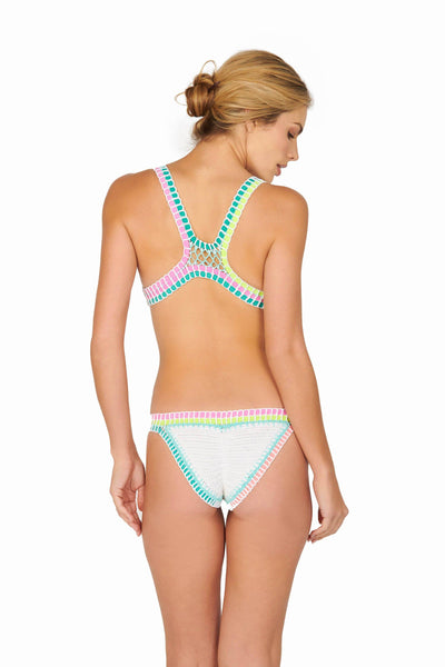 Bright Banded Crochet Bikini Set White Swimwear HYPEACH BOUTIQUE