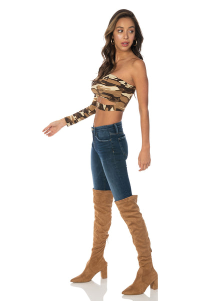 Brown Camo One Shoulder Long Sleeve Top Tops HYPEACH