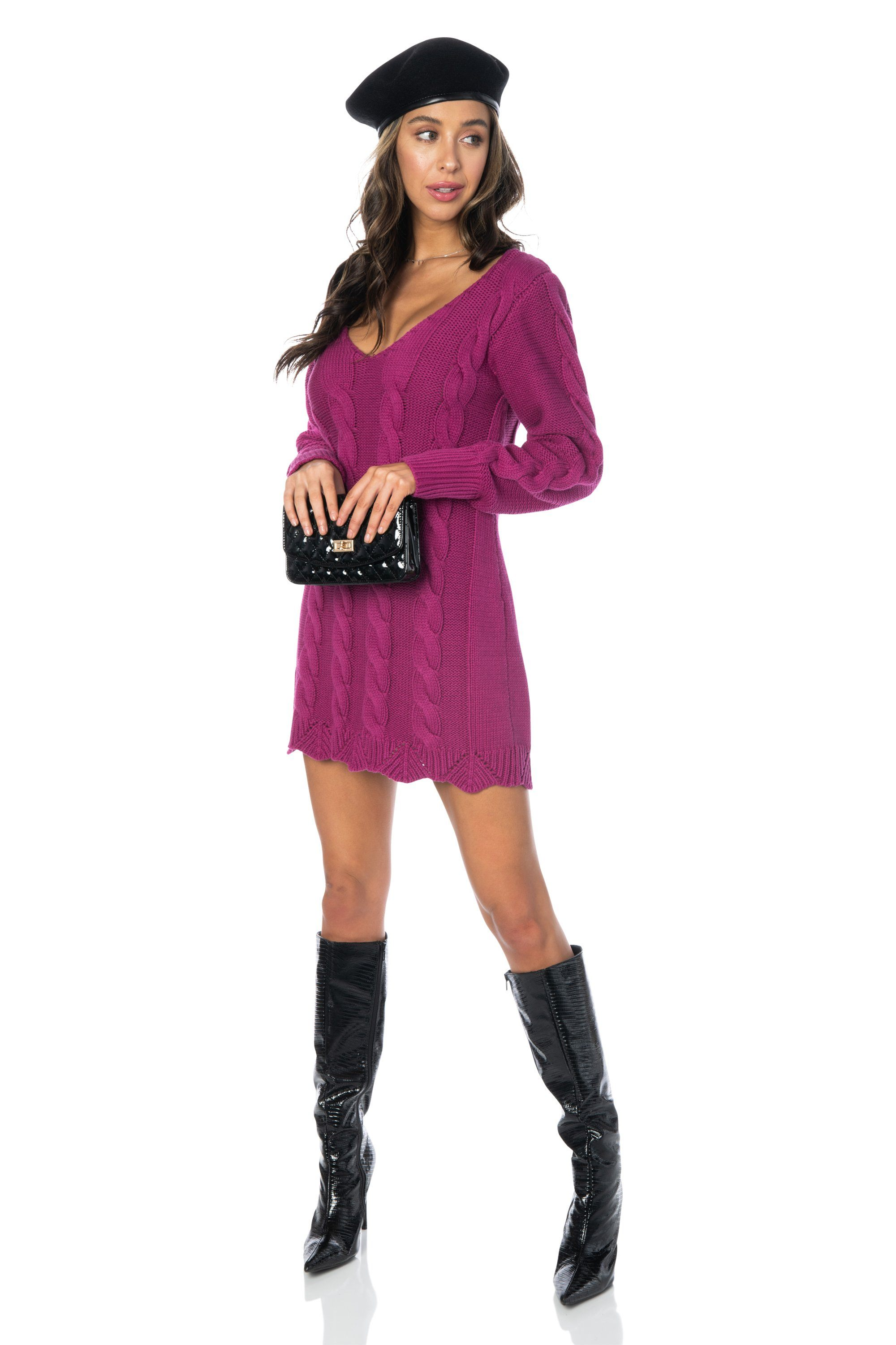 Cable Knit Magenta Sweater Dress Tops HYPEACH BOUTIQUE