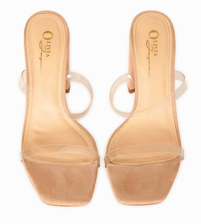 Camel Suede PVC Strap Block Heel Mules Shoes HYPEACH BOUTIQUE