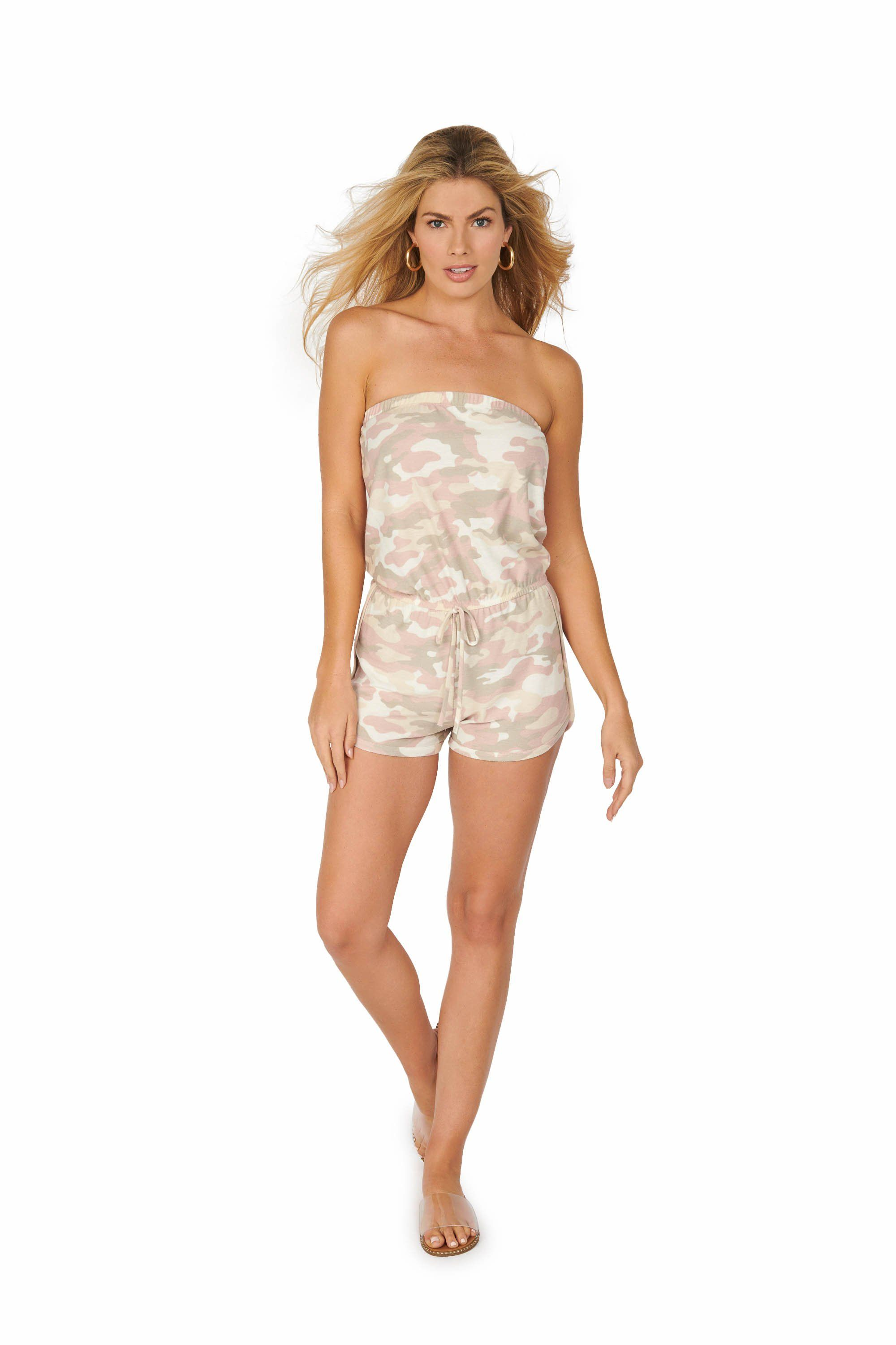 Camouflage Tube Top Light Pink Romper Rompers & Jumpers HYPEACH BOUTIQUE