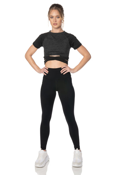 Charcoal Short Sleeve Crop Top - Hypeach Active Tops HYPEACH
