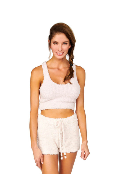 Comfy Loungewear Cropped Tank Powder Pink Tops HYPEACH BOUTIQUE