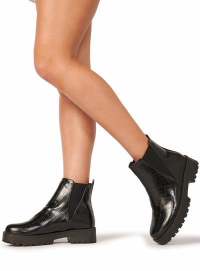 Croc Chunky Chelsea Boots Black Shoes HYPEACH BOUTIQUE