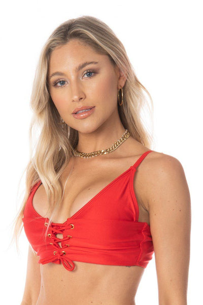 Cross-Tie Corset Adjustable Triangle Top Red Swimwear HYPEACH BOUTIQUE