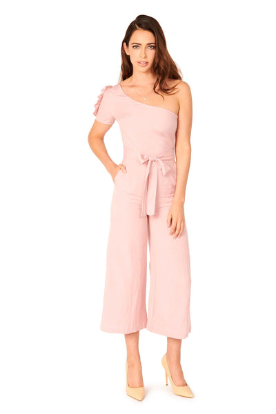 Del Mar One Shoulder Pink Jumpsuit Rompers & Jumpers HYPEACH BOUTIQUE