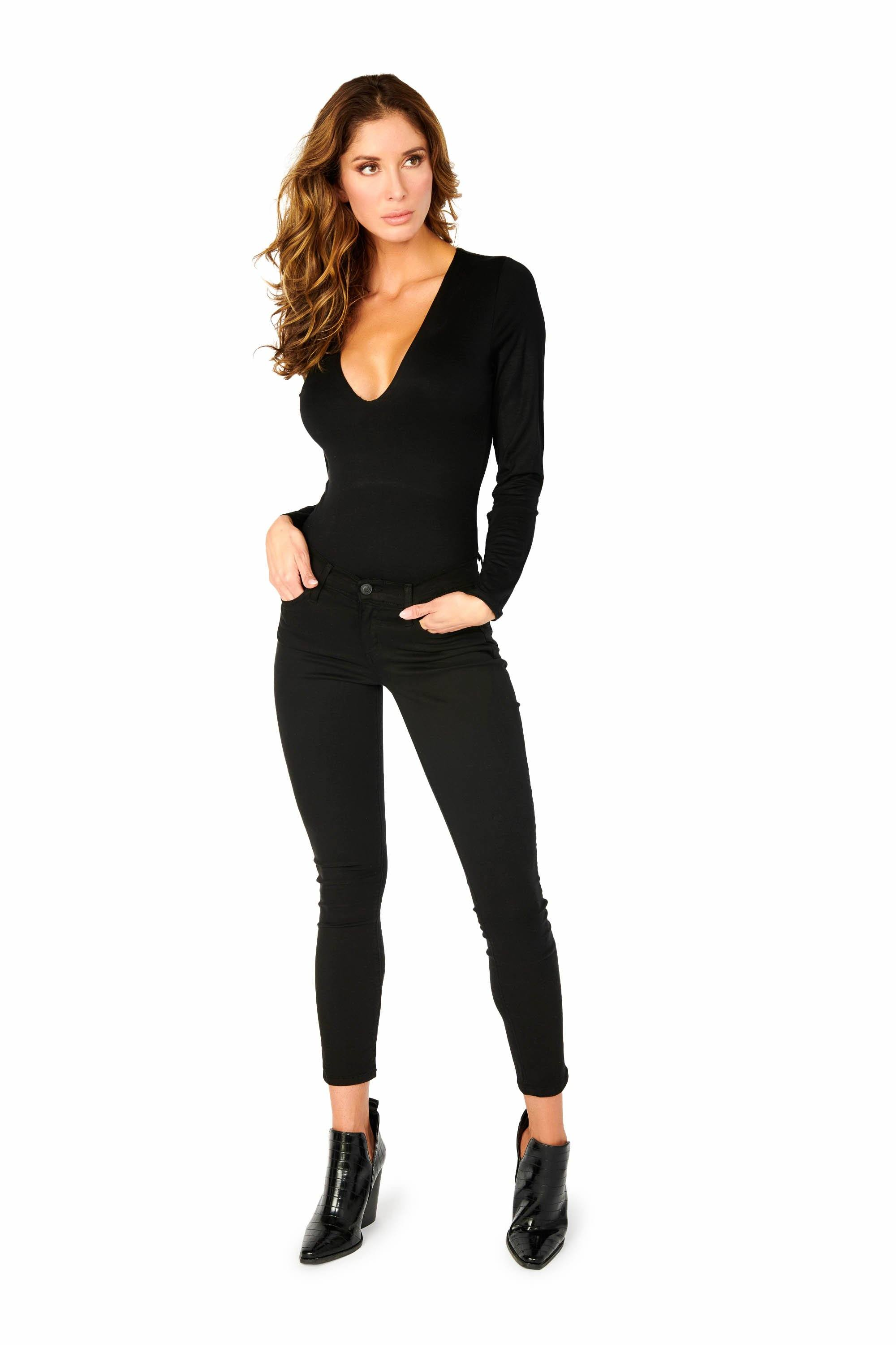 Double Layered Long Sleeve V Neck Bodysuit Black Tops HYPEACH BOUTIQUE