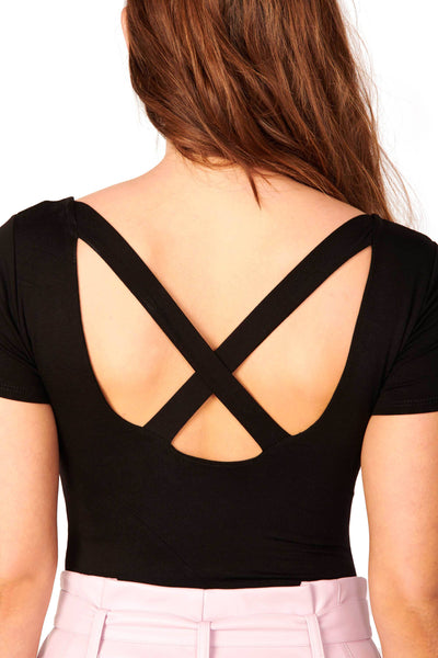Double Layered X Back Bodysuit Black Tops HYPEACH BOUTIQUE