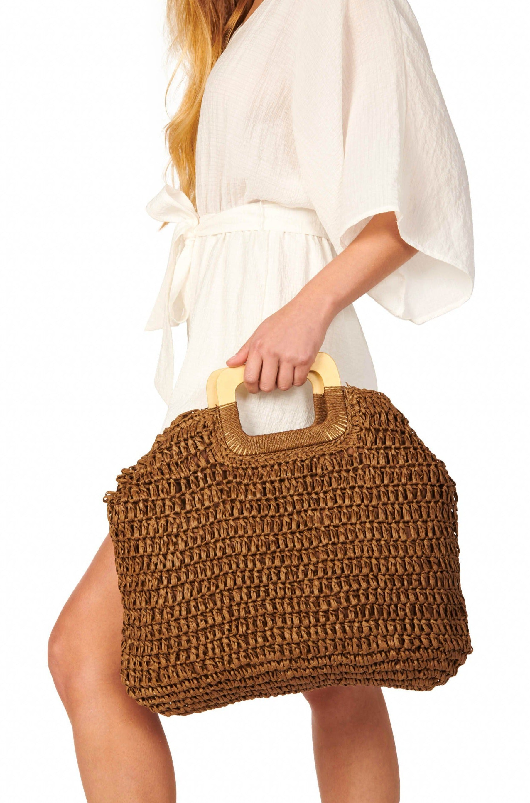 Eco-Friendly Straw Wooden Handle Tote Brown Accessories HYPEACH