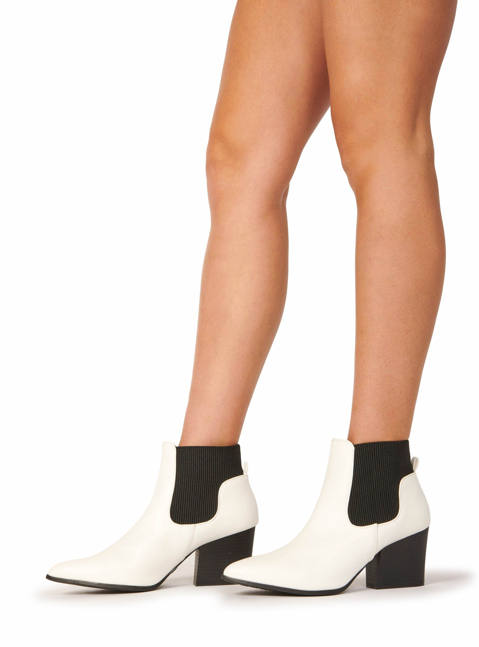 Faux Leather Pointed Toe Block Heel Booties White Shoes HYPEACH BOUTIQUE
