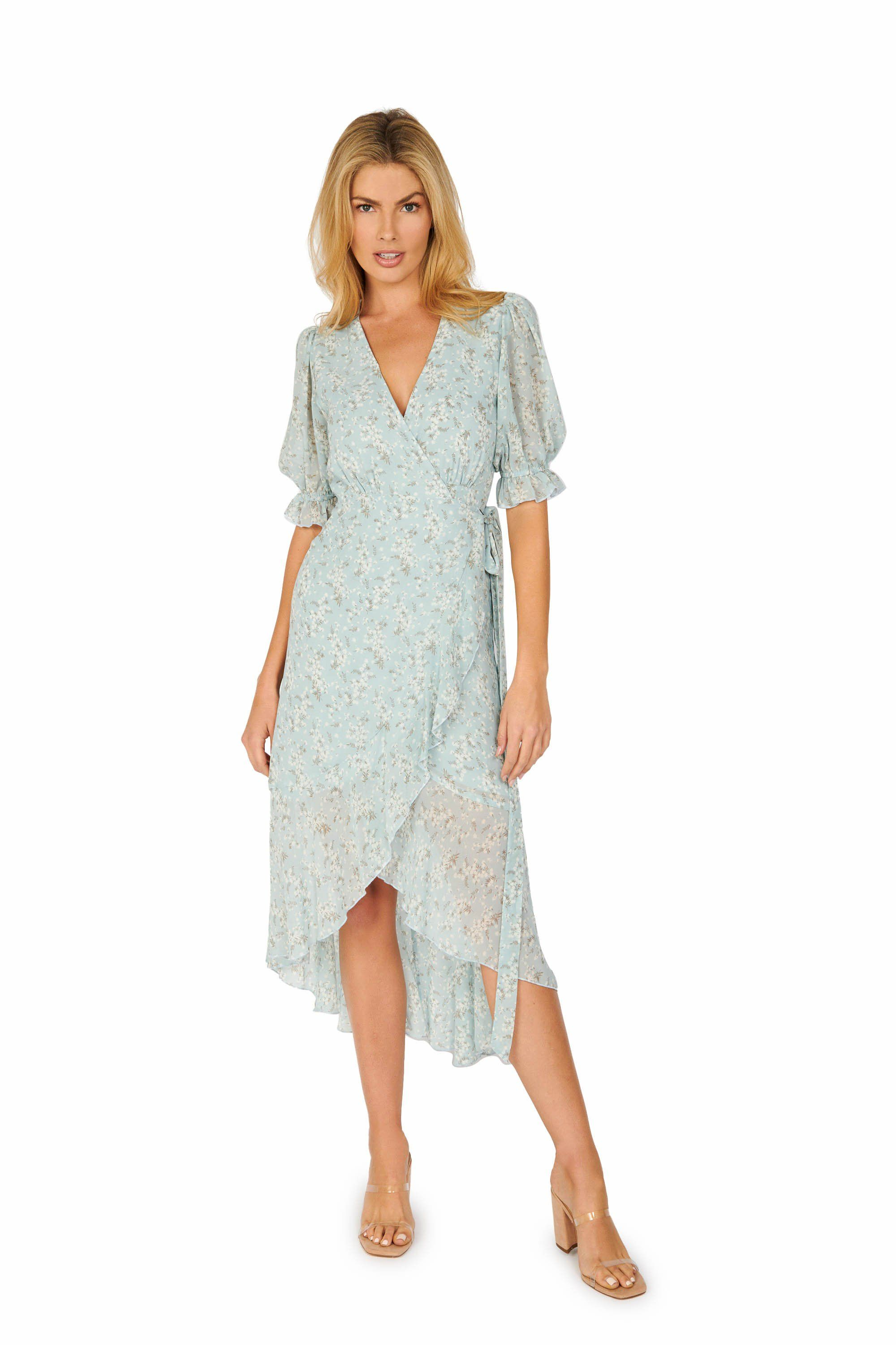 Floral Midi Wrap Dress Light Blue Dresses HYPEACH BOUTIQUE