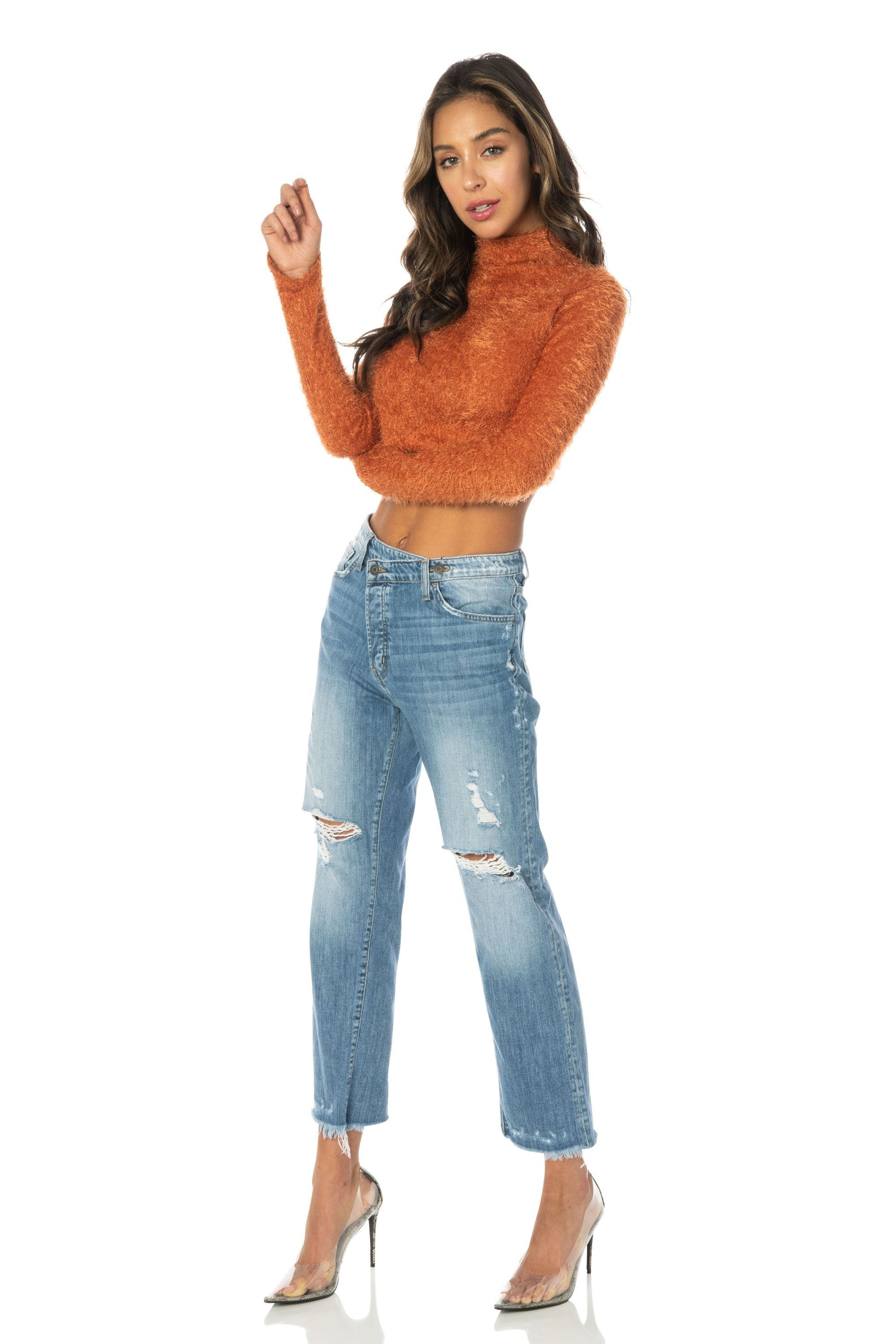 Flying Monkey Sexy Boyfriend Jeans Mid Rise Medium Wash Denim HYPEACH BOUTIQUE